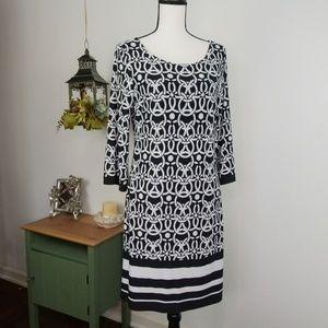 INC Dress 3/4 Sleeve Black White Shift Sz Medium